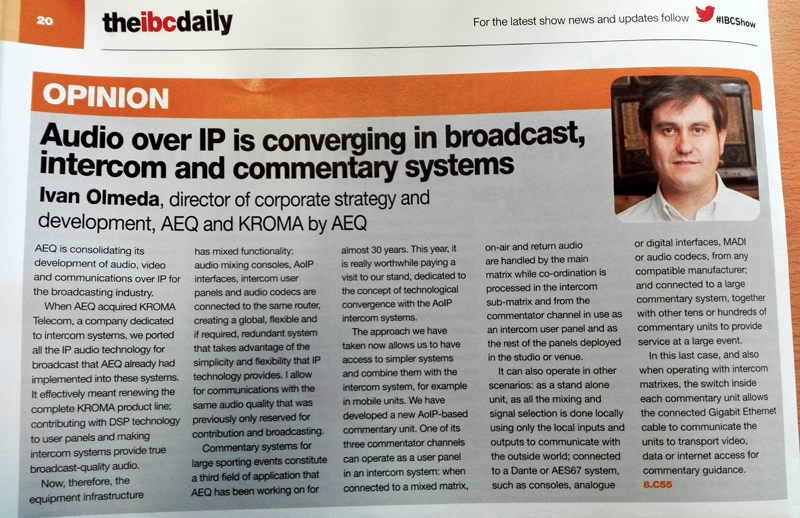 Audio over IP convergence in Broadcast, Intercom and Commentary Systems